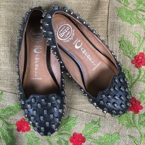 Jeffrey Campbell/Skulltini Black Leather Flats/6